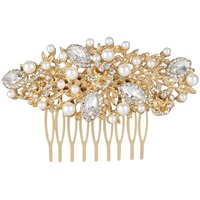 BELLA Fashion Elegant Gold Plated Bridal Flowers Oval Gems Small Hair Comb Austrian Crystal Wedding Bridesmaid