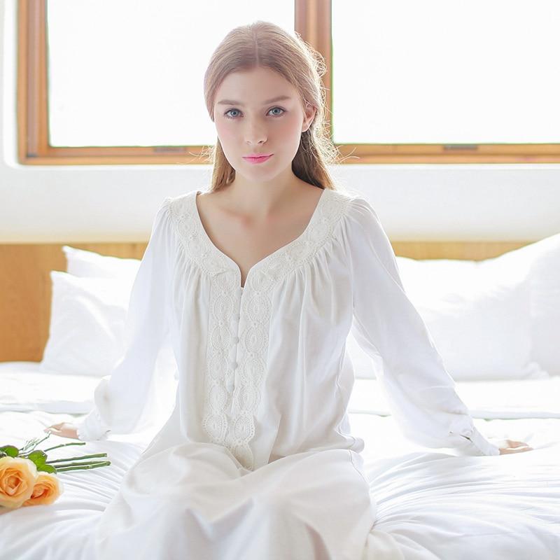 New Nightdress Women Cotton Nightgowns Long-sleeved Sleepshirts Vintage Home Wear Nightshirt Pregnant Nightwear White Pink