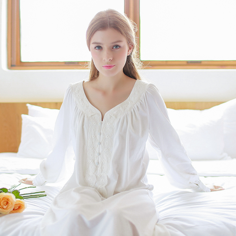 New Nightdress Women Cotton   Nightgowns   Long-sleeved   Sleepshirts   Vintage Home Wear Nightshirt Pregnant Nightwear White Pink