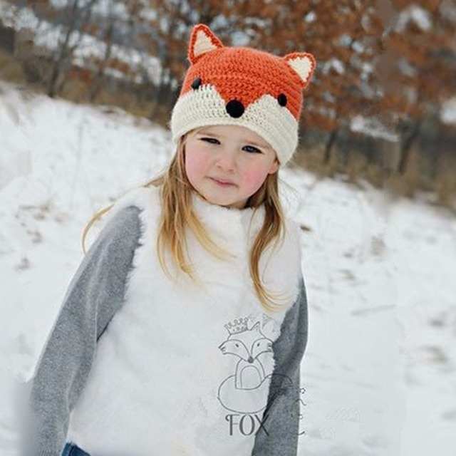 Handmade Crochet Baby Fox Hat Baby Winter Hat Winter Wool Knitted Pattern  Hats Baby Girls Hooded Caps Baby Photography Props 260ad2acbdbe