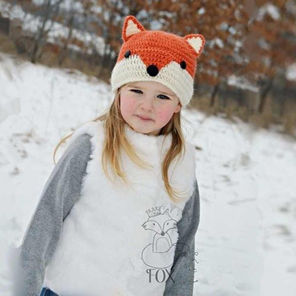 d1d3706f8ca Handmade Crochet Baby Fox Hat Baby Winter Hat Winter Wool Knitted Pattern  Hats Baby Girls Hooded Caps Baby Photography Props