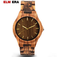 ELMERA Men's Wood Watch Reloj Hombre 2018 Design Men Hour Sports Watches Men's Brown Quartz Arabic Numbers Luxury Brand Watch(China)