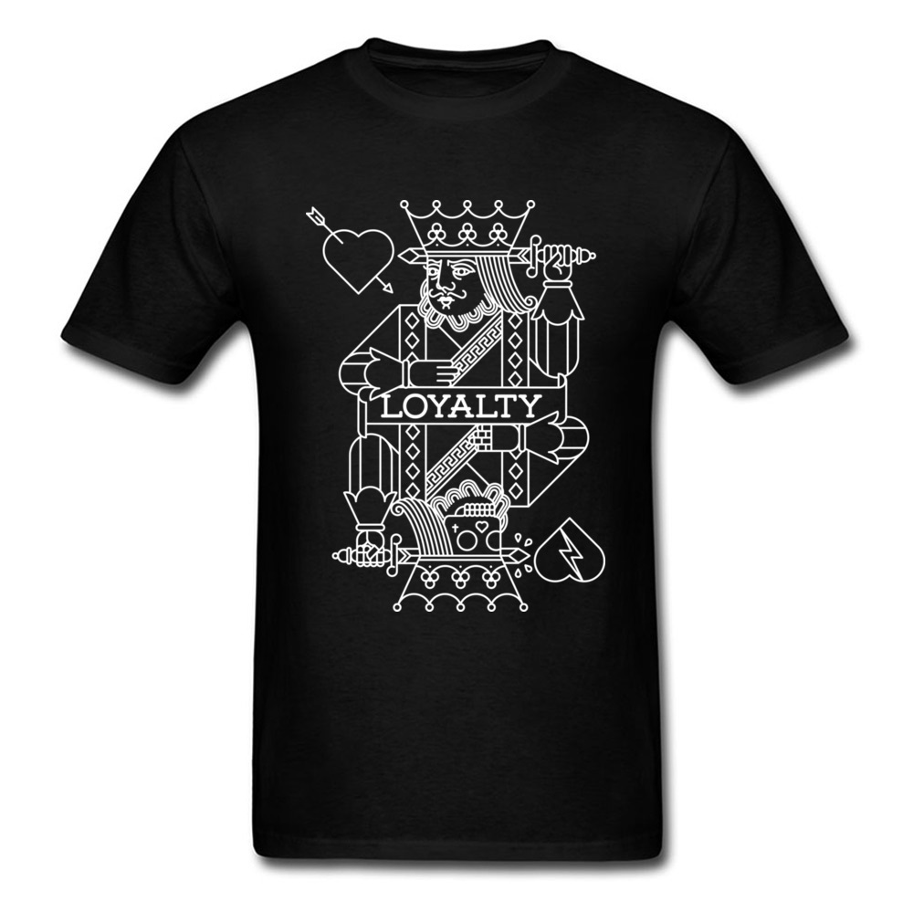 Loyalty In Love Poker Card King Print Novelty Tee Shirt Men ValentineS Day Gift T-Shirt Black White Unique Design