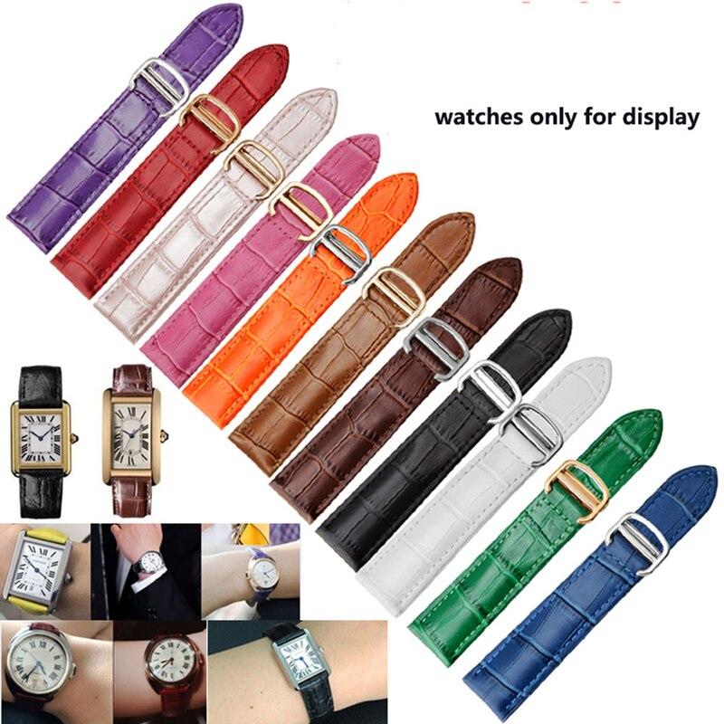 Peiyi pulseira de relógio de couro genuíno pulseira 18/20/22mm para homens/mulher substituir pulseiras para cartier tanque solo