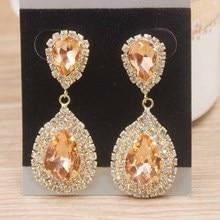 Shiny Champagne color rhinestone Dangle Earrings for lady Multi color new arrival crystal jewelry earrings gold drop earrings недорого