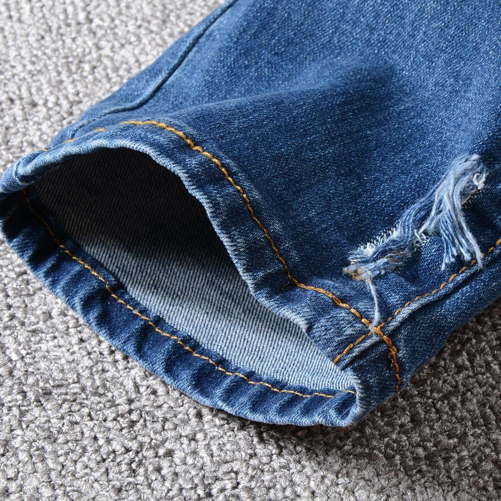 Sokotoo Men's classic blue ripped biker jeans for motorcycle Plus size slim fit moustache effect stretch denim pants
