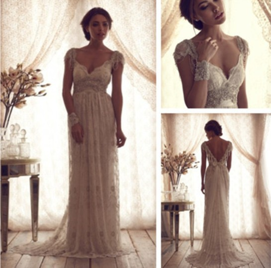 Anna Campbell Wedding Gown: Luxury V Neck Anna Campbell Wedding Dresses Lace Crystal