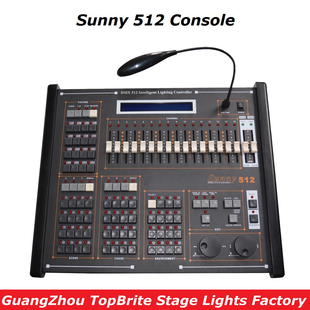 2017 Big Discount New Sunny 512 DMX Stage Lighting Controller Sunny 512 Computer Console For Dj Disco Laser Lights Free Shipping