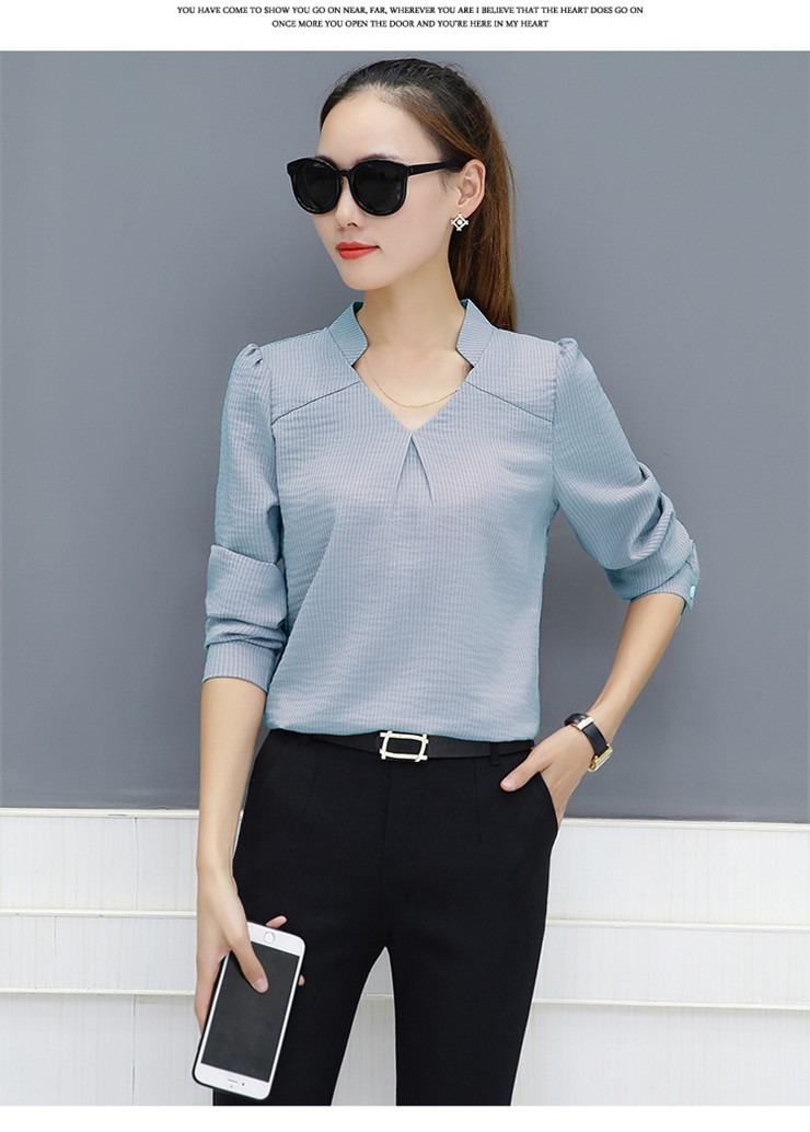 e0bae9ece381cc 2018 New Women Blouses Work Shirt Striped V-neck Tops Ladies Fashion Spring  Shirt Women s Long Sleeve Tops Blusas Female