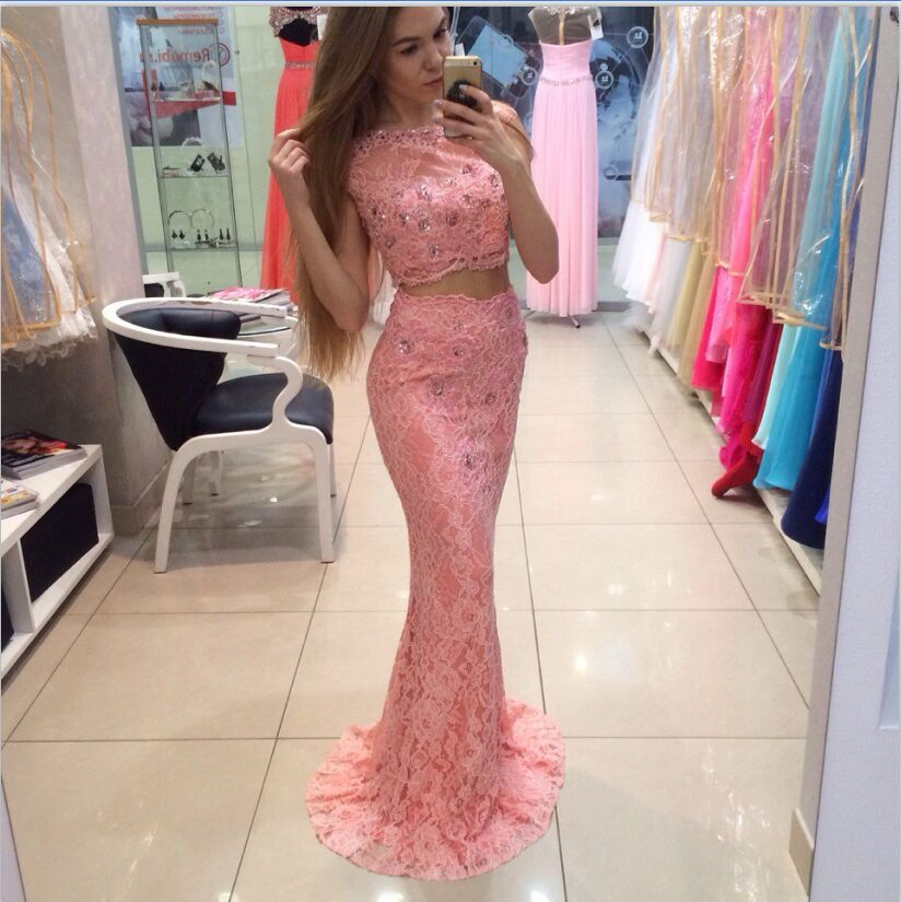 Fashion Two Piece   Prom     Dresses   Long 2019 robe de bal Mermaid Lace Formal Evening Gowns Custom Made Imported Party   Dress