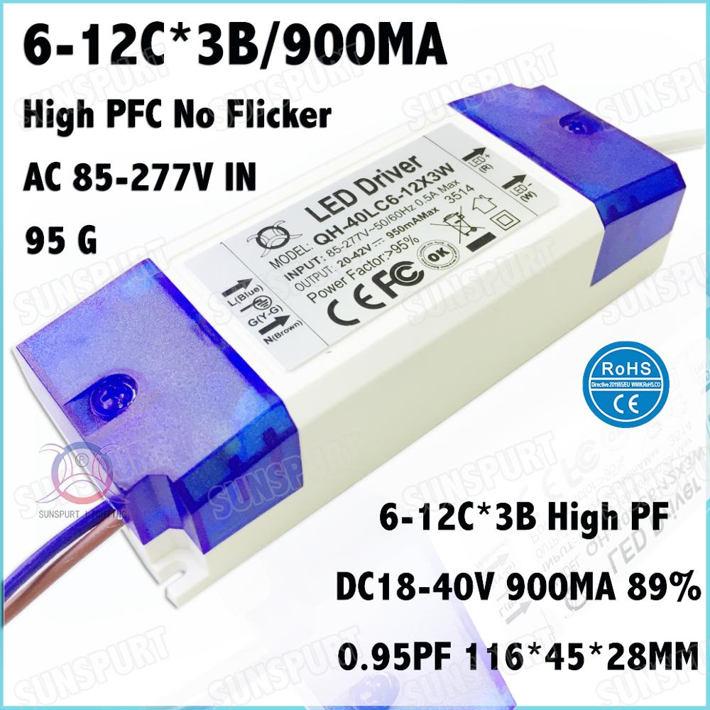 5 Pcs High PFC Box 40W AC85-277V LED Driver 6-12Cx3B 900mA DC18-40V Constant Current No Flicker For LED Spotlight Free Shipping