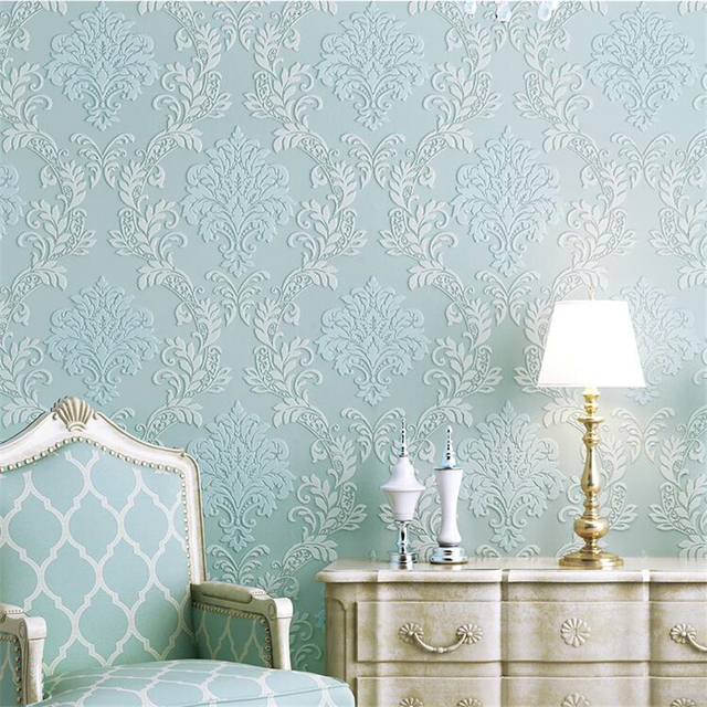 Beibehang estilo europeo damasco papel pintado azul verde - Papel pintado aislante termico ...