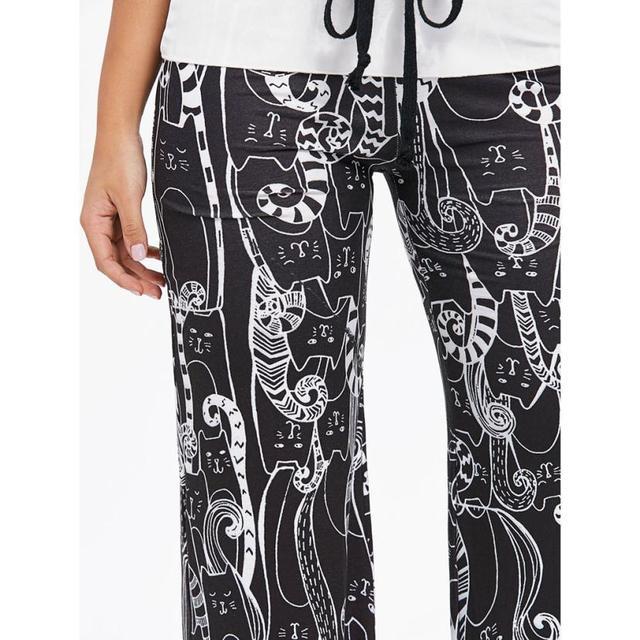 Cat Print Drawstring Wide Leg Pants