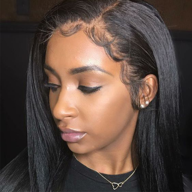 Lace Front Human Hair Wigs For Women Black Pre Plucked Glueless Lace Front Wig With Baby