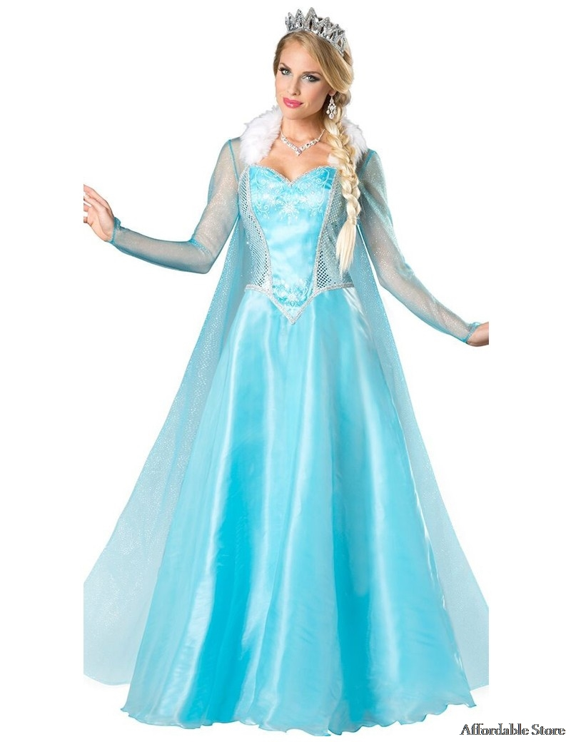 Princess Anna Elsa Queen Girls Cosplay Costume Party Formal Dress ...