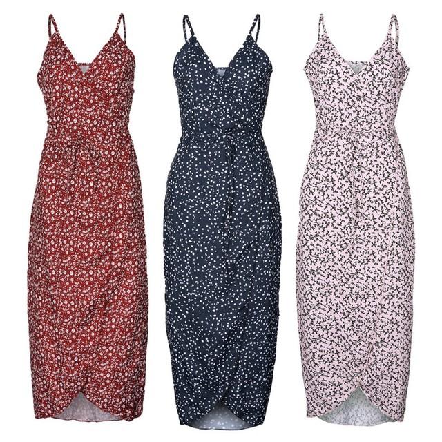 Long Maxi Dress Fashion Women Spaghetti Floral Front Split Printed Beach Dresses Party Dress Vestidos