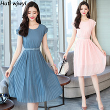 2019 New Korean Vintage Boho Dresses Summer Plus Size Solid Sexy Sundress Elegant Women Beach Midi Bodycon Short Sleeve Vestidos(China)