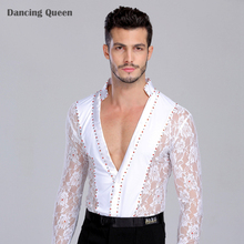 Dance Costumes For Kids Men/boy Performance Latin Dress Tops Diamond Lace Long Sleeve Dance Ballroom Competition Dresses Shirt