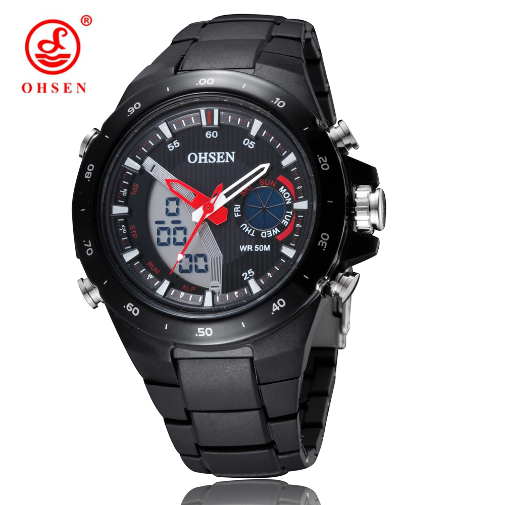 2941990d12 NEW OHSEN Digital Quartz Outdoor Sport Men wristwatch Rubber Band Black Fashion  LCD Military Diving Watches relogio masculino