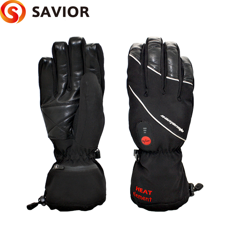 SAVIOR S-01 Winter Heated ski Gloves electric heating 7.4V lithium battery soft liner choice  grades of material leather savior s 16 lithium battery electric heating winter gloves for skiing riding cycling low temperature men women