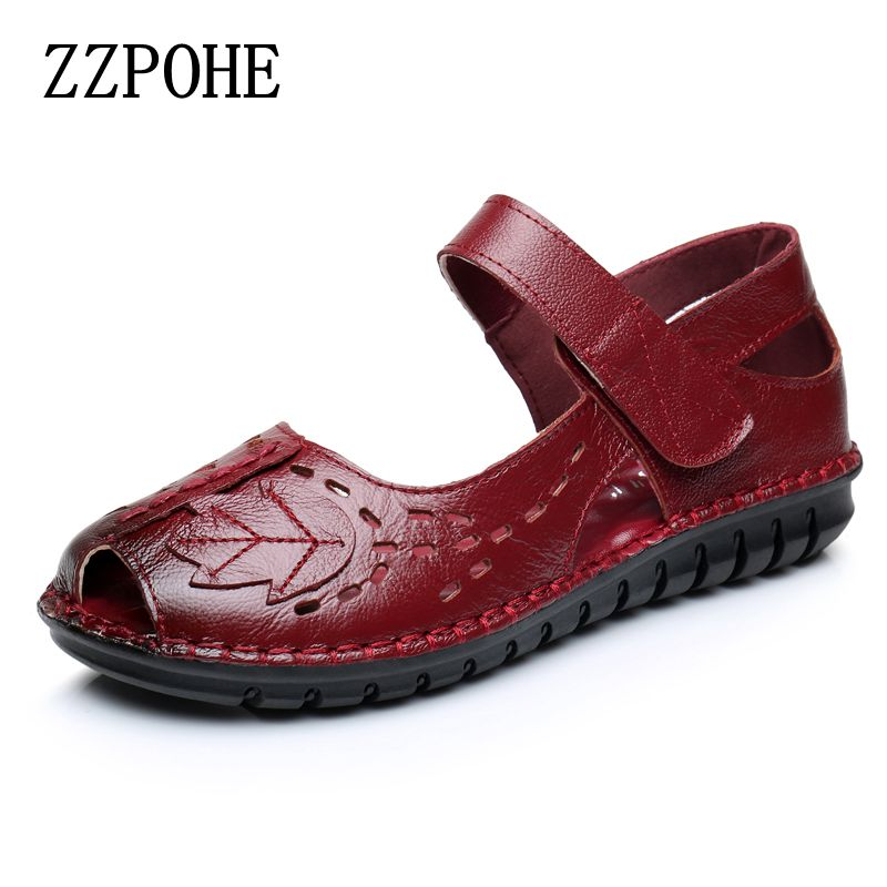 ZZPOHE 2017 summer new fashion Woman comfortable Sandals leather soft hollow sandals ladies casual flat sandals Women Sandals zzpohe 2017 summer new mother sandals elderly fashion casual leather female flat sandals hollow large size women sandals 41 42