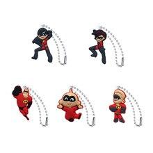 5pcs PVC Keychain Cartoon Figure The Incredibles Metal Ball Chain Key chain Charms Trinket