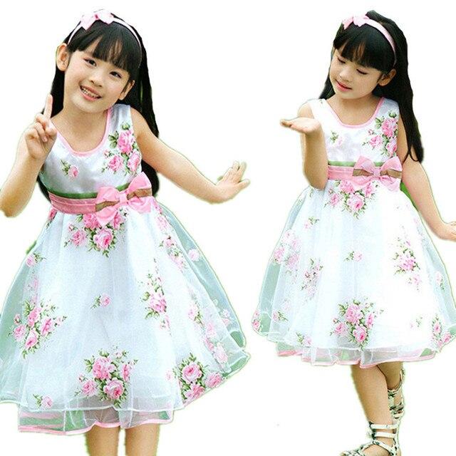 Retail Hot children clothing Girls Dress 2015 girl Dress tutu princess Summer roses Shaqun 4-12 Year old girls clothes dresses