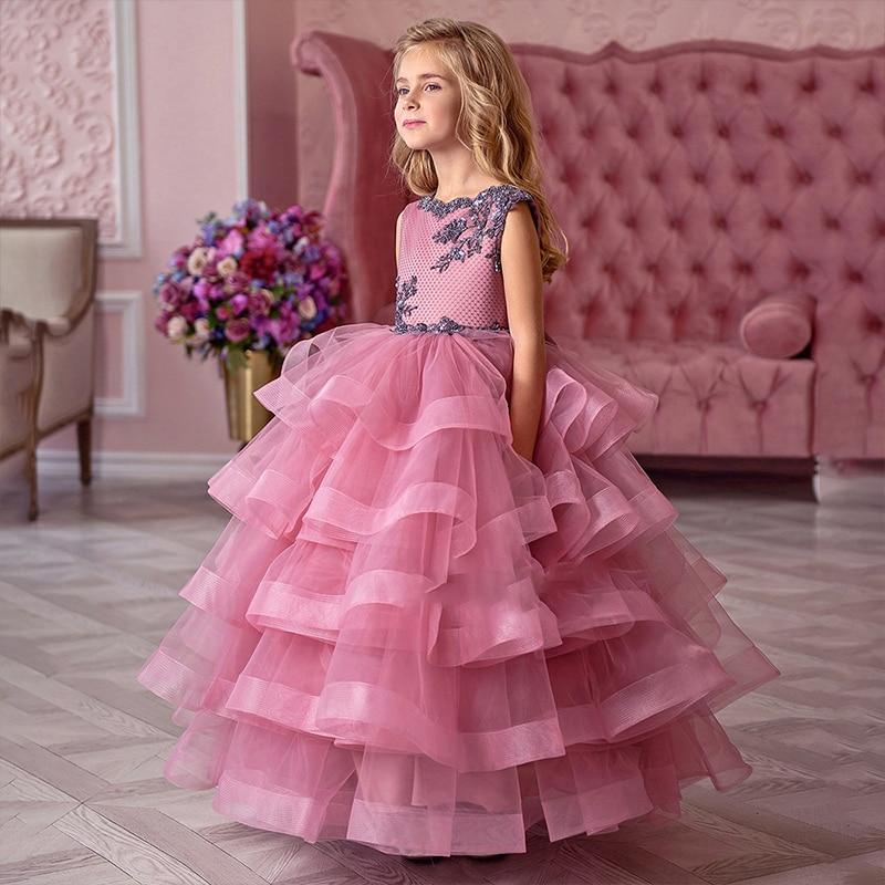 Винтажное платье с цветочным узором для девочек на свадьбу, платье пачка на заказ, кружевное платье с большим бантом, детское вечернее плать