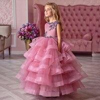 Vintage flower girl dresses for wedding custom made princess tutu appliqued lace with big bow kids party dress