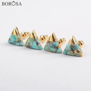 Image 2 - Borosa 5 pares boho turquesa studs 10mm banhado a ouro quadrado triângulo redondo natural turquesa brincos artesanal senhora presentes g1723