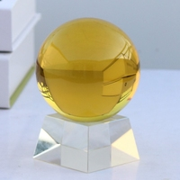 Yellow crystal ball K9 artificial crystal ball to attract money wind water ball set pieces transfer ball