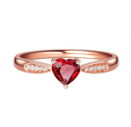 Natural red ruby ring type rose gold Plated heart design love