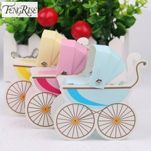 FENGRISE 10pcs Paper Candy Box Stroller Shape Baby Shower Favors Kids Birthday Party Wedding Gifts Baby Shower Decor Supplies