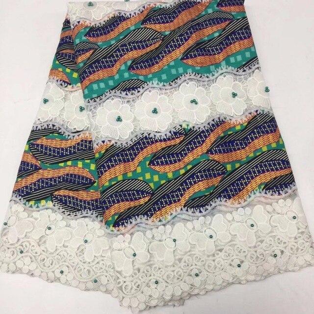 Tissu africain guipure ren Trận Đấu Đại sáp in hình đính hạt vải 2018 mới nhất Châu Phi sáp sữa sợi lưới ren Miếng dán cường lực vải