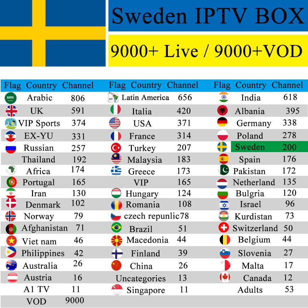 Sweden IPTV 1 Year free Android 7.1 Premium IPTV Box TX6 2GB 16G EX YU Malaysia Denmark Adult Channel M3u mag Subscription VLC