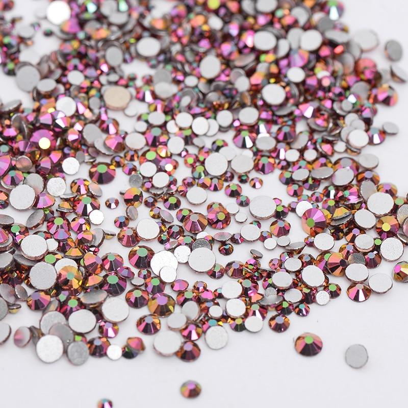 AAAAA Quality 1packs Mix Sizes Rose Rainbow Non Hotfix Flatback Nail Rhinestoens Nails Accessories Nail Art Decoration Gems mix sizes 1000pcs pack crystal clear ab non hotfix flatback rhinestones nail rhinestoens for nails 3d nail art decoration gems