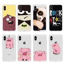 cartoon pig panda bear colorful Soft Clear TPU Phone Case For iPhone 6 6S Plus 7 7Plus 8Plus iPhone X 5s 4s C057(China)