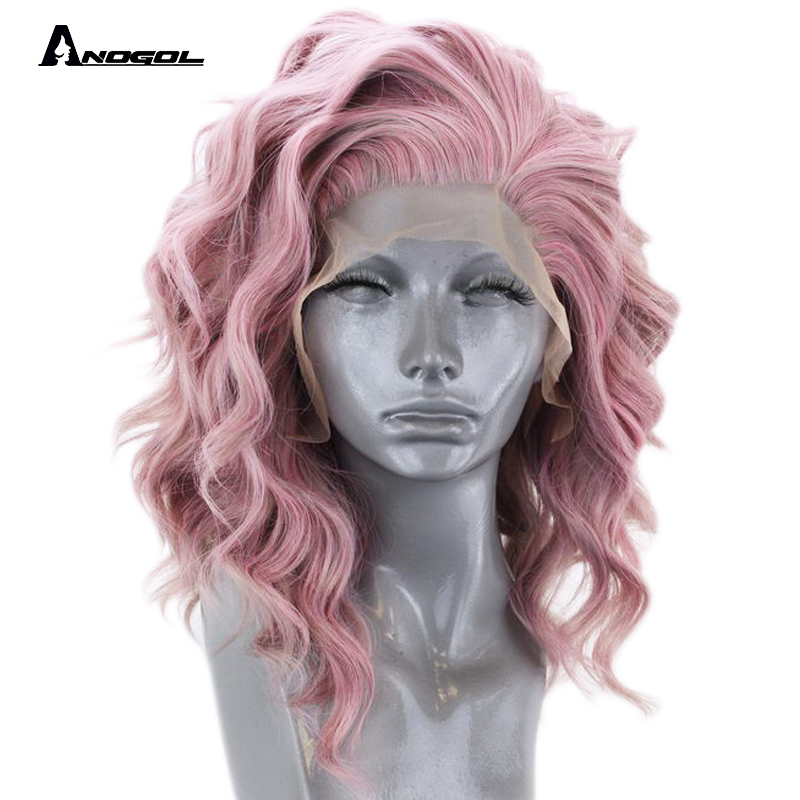 Anogol High Temperature Fiber Free Part 360 Frontal short Deep Wave Bob Full Hair Wigs Pink