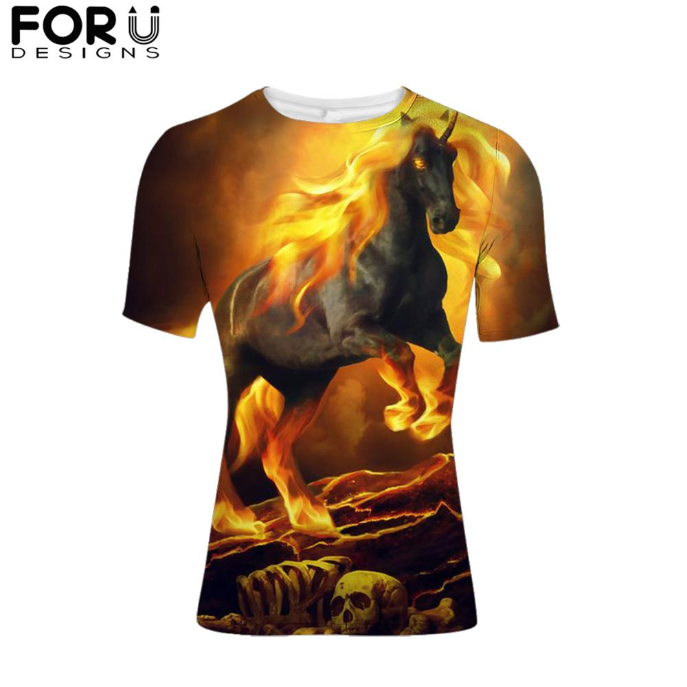 FORUDESIGNS Cool Fire Crazy Horse Print T-Shirt For Men Tshirt Short Sleeve Male O-Neck Tops Tee Animal T-Shirt Dropshipping