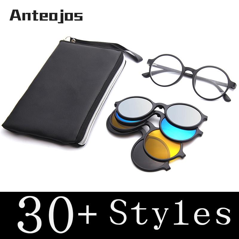 9ca2afcf38 ANTEOJOS de la luz Ultra-TR90 magnético Clip en gafas de sol hombres mujeres  polarizado UV400 gafas de sol receta gafas Marco con el caso