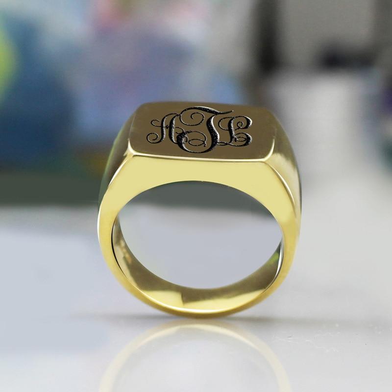 fdd07ca9fe2e AILIN personalizado MO anillo cuadrado de Color dorado anillo de las  iniciales grabado con nombre anillo único de la vid con el mejor regalo en  Anillos de ...