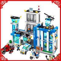 BELA 10424 City Police Station Motorbike Helicopter Building Block 890Pcs Educational Construction Assemble Toys For Children