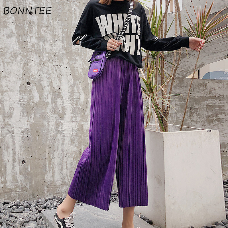 Pants   Women Winter Retro Plus Velvet Chiffon Classic Solid High Waist Loose Leisure Womens   Wide     Leg     Pants   Pleated Korean Style