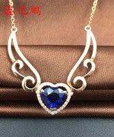 Крылья Ангела 18 К золото инкрустированные Природный сапфир ожерелье Королевский синий цвет с бурения