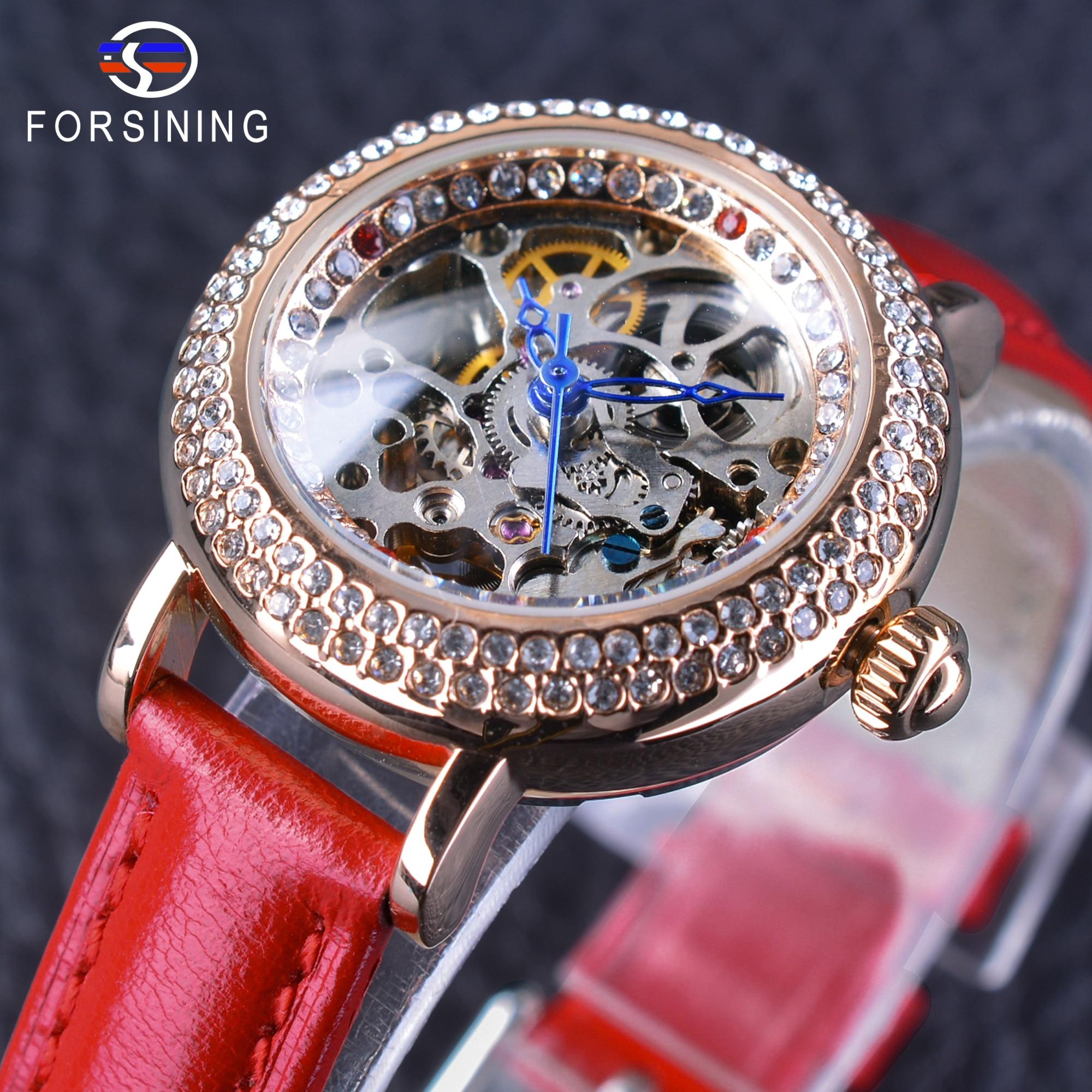 Forsining Fashion Red Genuine Leather Ladies Diamond Bezel MILAN Street Women Casual Automatic Skeleton Wrist Watch Female Clock