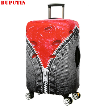цена на RUPUTIN Zipper Design 3D Luggage Protective Cover For 18-32 Inch Colorful Trolley Suitcase Elastic Dust Cover Travel Accessories
