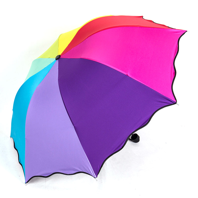Yesello Women Rainbow Folding Umbrella Wind Resistant Waterproof Pencil Rainy Umbrellas For Men Portable Travel Umbrellas
