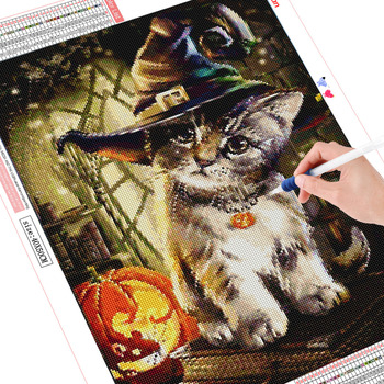 HUACAN Diamond Painting Full Square Halloween Cat Paint With Diamonds DIY Diamond Embroidery Animals Picture