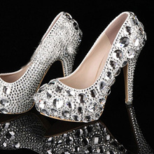 Luxury Lady Party Prom Dress Shoes High Heel Bridal Shoes with Platform for Woman Gorgeous Crystal high heel wedding shoes