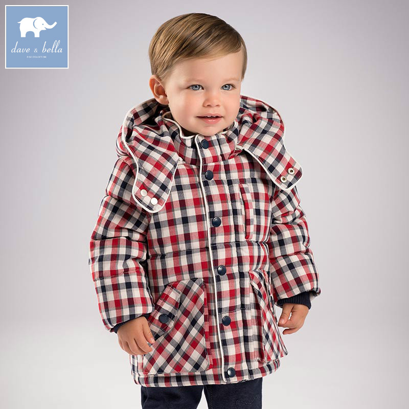 цена на DB5632 dave bella winter infant baby boys fashion Jackets toddler Hooded plaid outerwear children hight quality coats